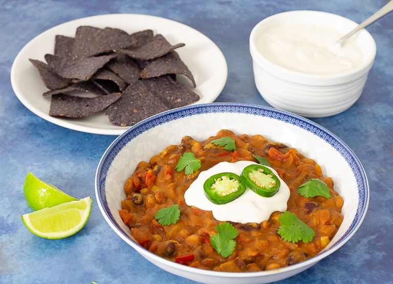Simple Vegan Chili with Dairy Free Sour Cream
