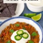 Vegan Chili and sour cream
