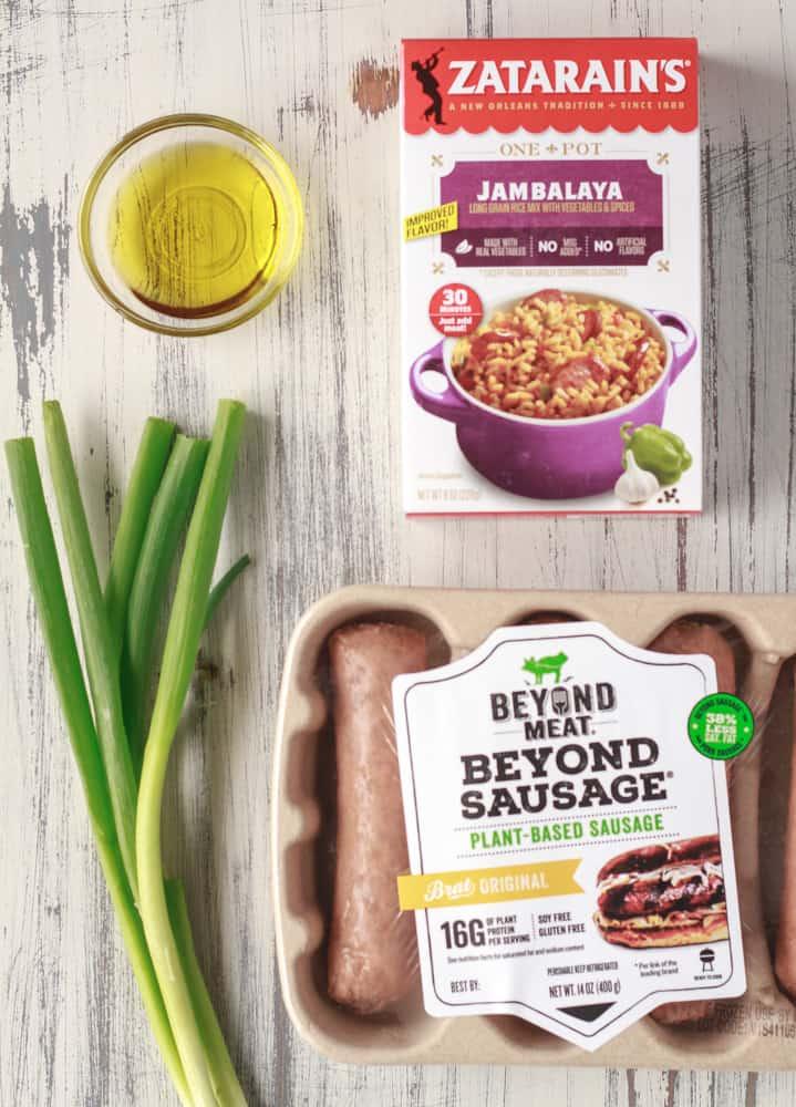 Zatarain's Jambalya mix, green onions, olive oil, and Beyond Meat Plant Based Sausage.