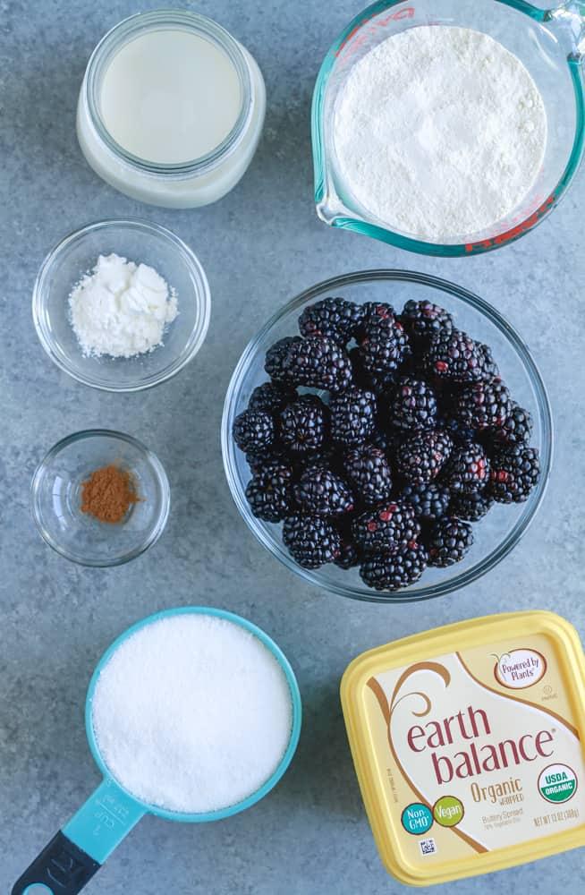 almond milk, flour, blackberries, cornstarch, cinnamon, sugar, Earth Balance Butter. Photograph by Happycowandme.com.
