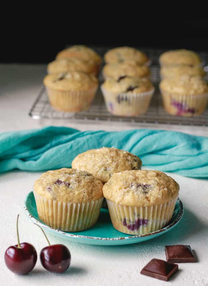 vegan chocolate cherry chunk muffins