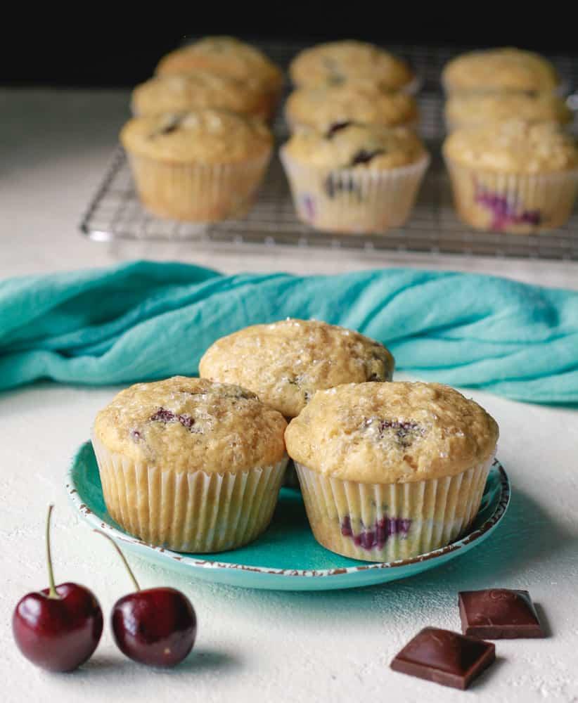Vegan Chocolate Chunk Cherry Muffins