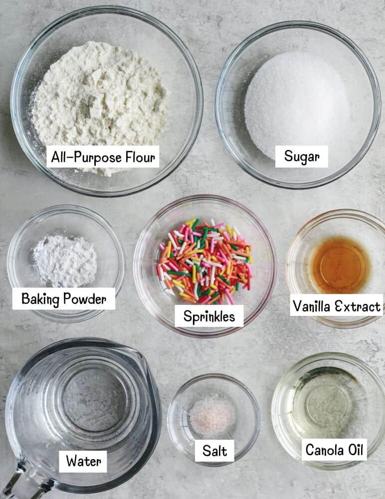 Ingredients for Vegan Funfetti Mug Cake