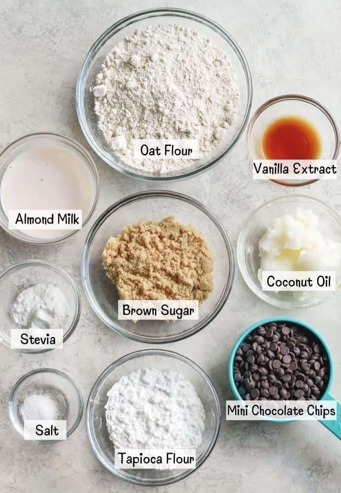 ingredients for light vegan cookie dough bites