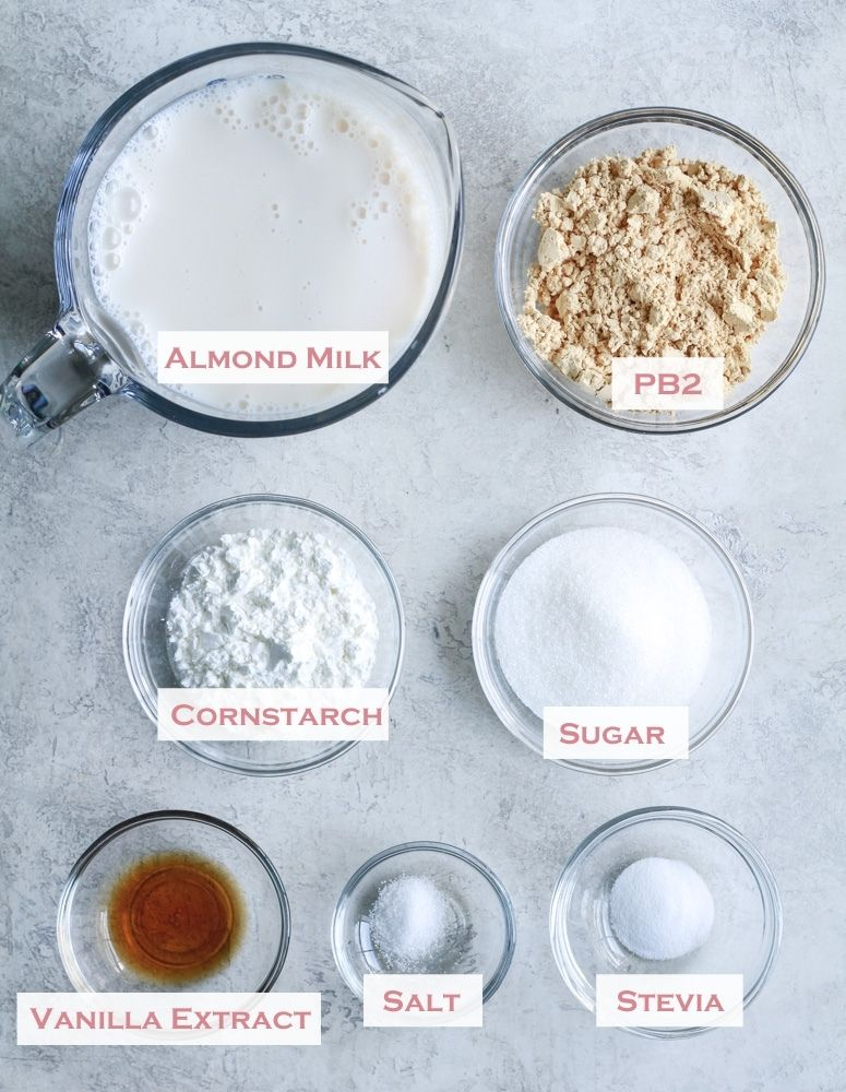 ingredients for vegan peanut butter pudding