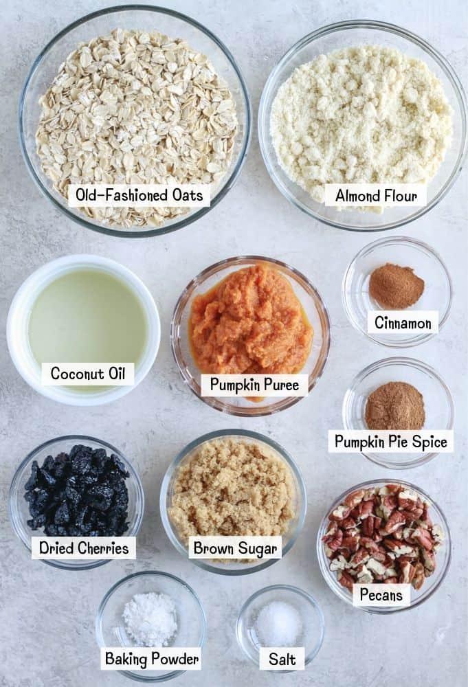 Ingredients for Pumpkin Oatmeal cookies