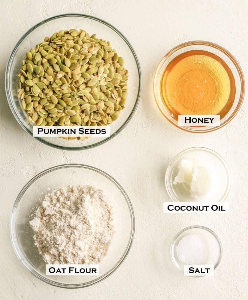 Ingredients for pumpkin seed bars
