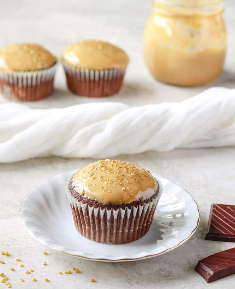 Quinoa Chocolate Cupcakes with Peanut Butter Glaze